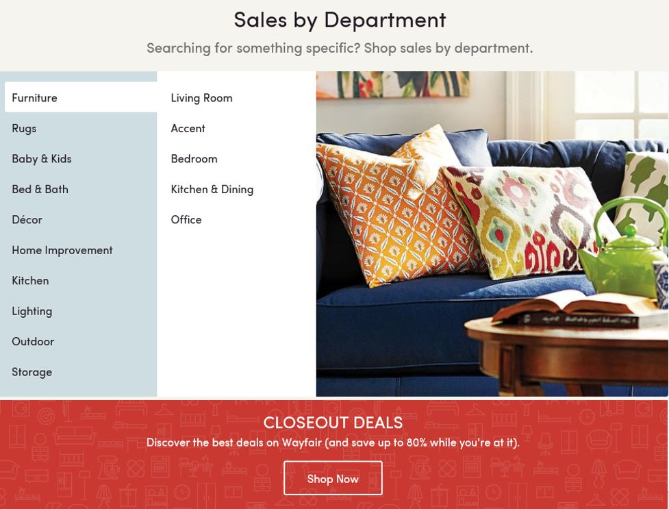 Clearance and closeout deals, Wayfair, 2