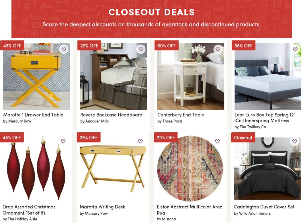 Clearance and closeout deals, Wayfair
