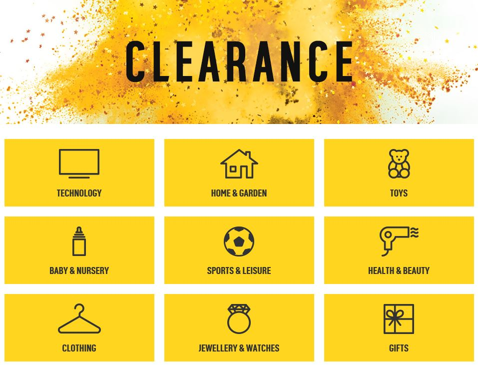 Clearance products, Argos UK