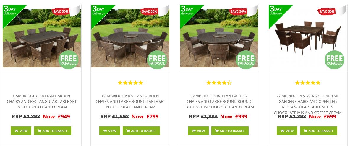 Sales and clearance at Rattan Direct, 2