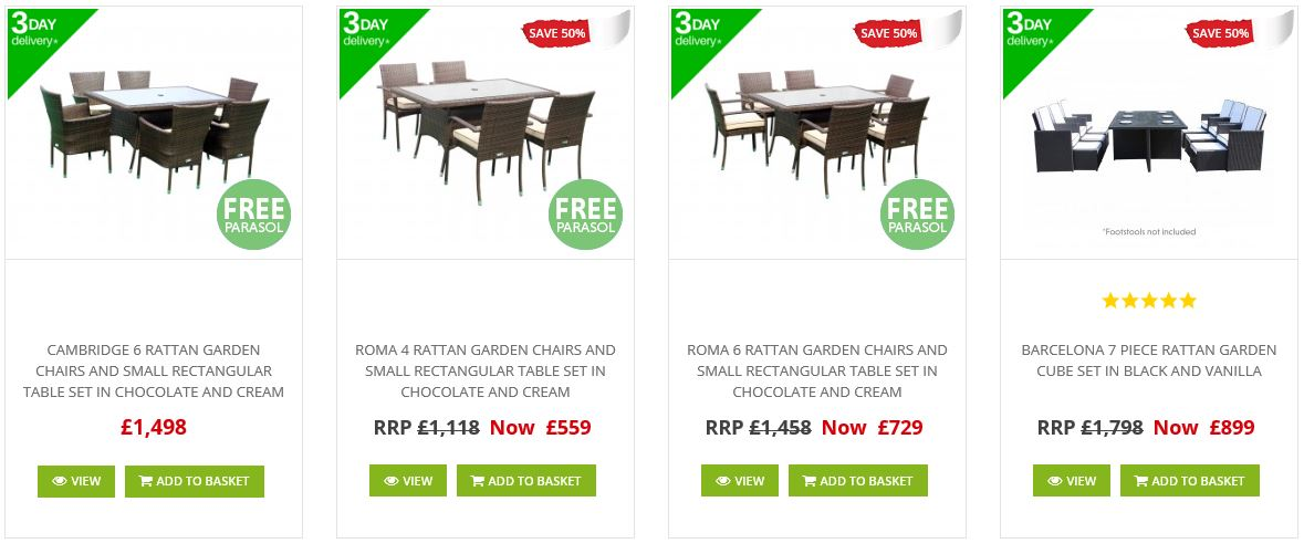 Sales and clearance at Rattan Direct, 3