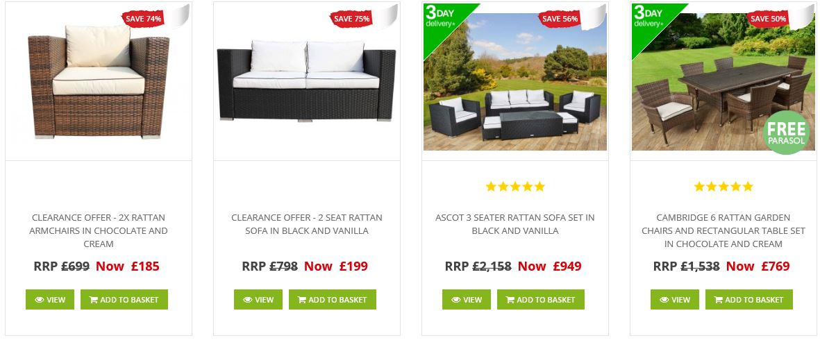 Sales and clearance at Rattan Direct